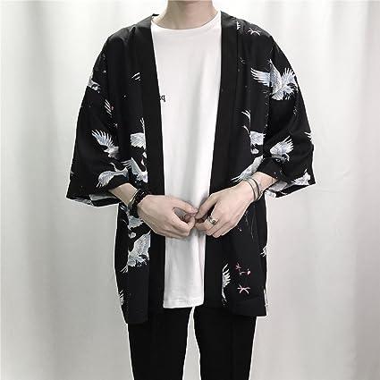 Homme Blousons Impression Mode Hommes Kimono Cardigan Chemise Manteau Mince  Survêtement Occasionnel Lâche Manches Courtes Chemises Veste  Amazon.fr  ... a9b4a2577343