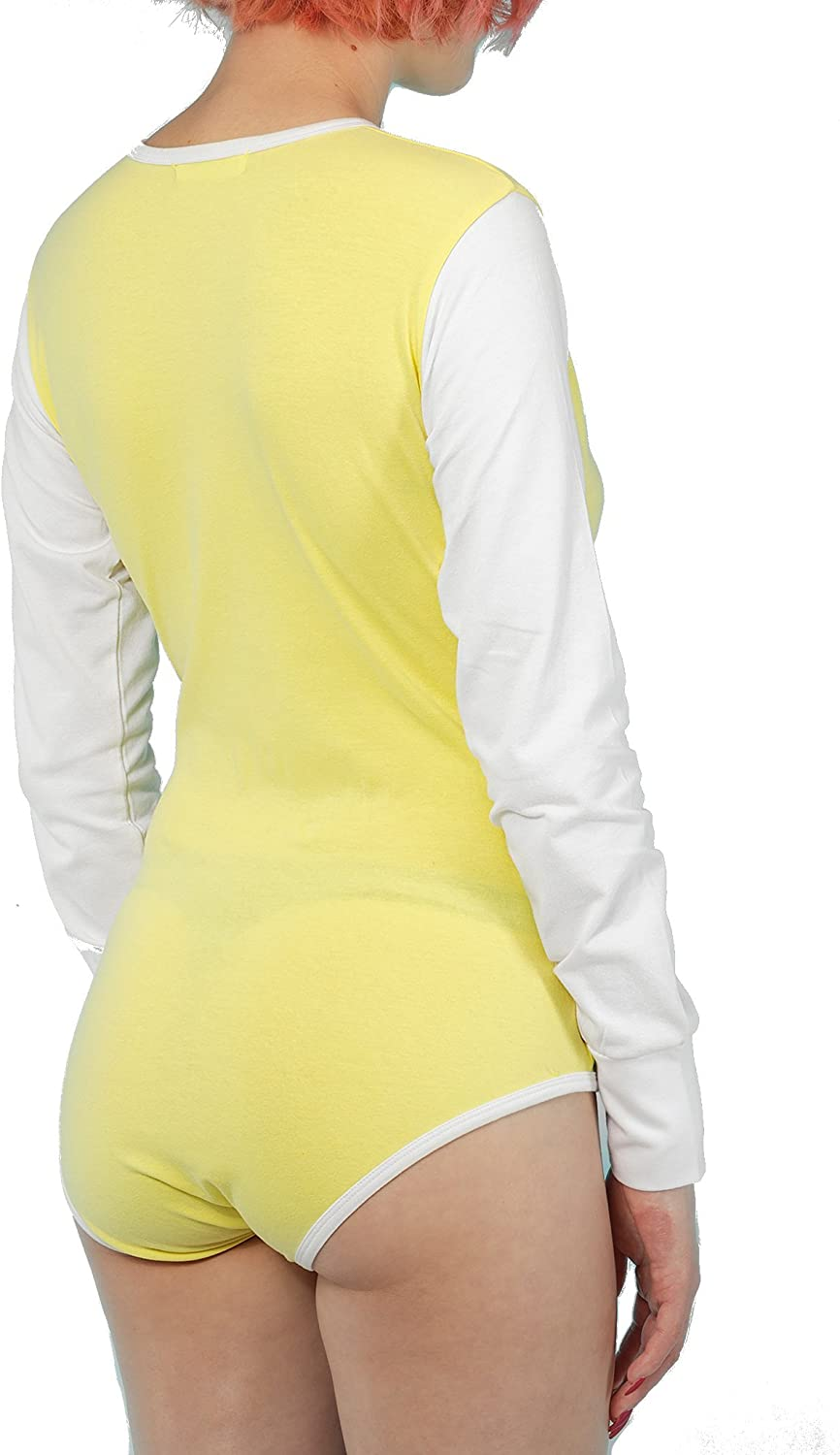 White Littletude ABDL Long Sleeve Onesies Adult Baby Snap Crotch Romper Style Yellow Pink