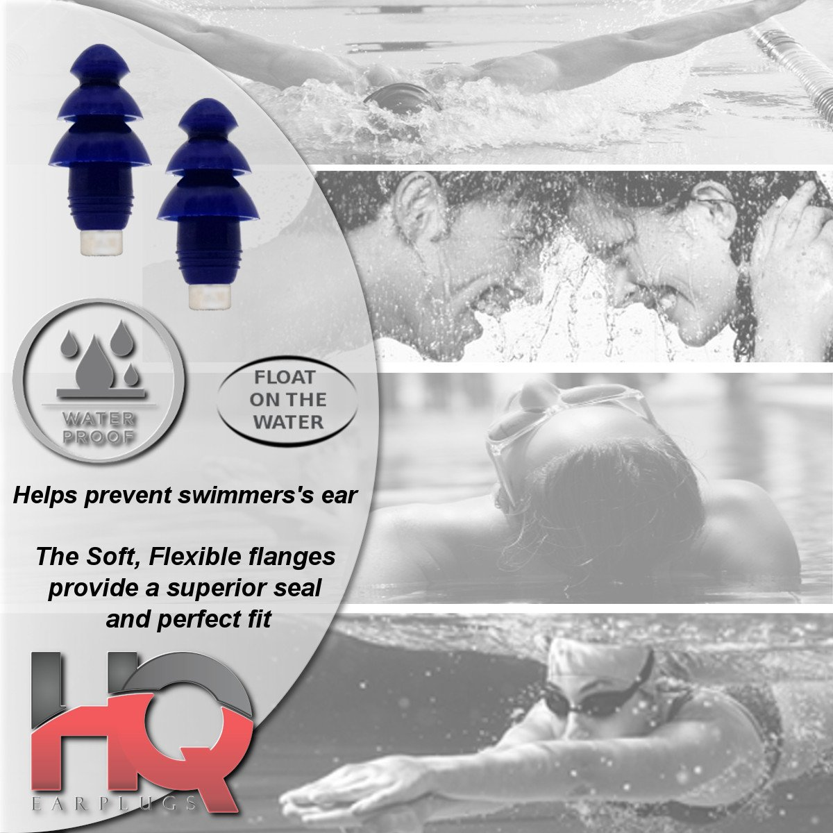 Soft Silicone Ear Plugs with Filter- Noise Cancelling & Hearing Protection By HQ Earplugs - NRR 25 to 29db – Water Block Ends – One Size Fits All (Blue)