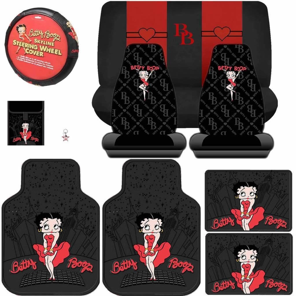 - Betty Boop and 1 Steering Wheel Cover 2 Rear Floor Mats A 7 Piece Betty Boop Gift Set: 2 Lowback Seat Covers 2 Front Floor Mats