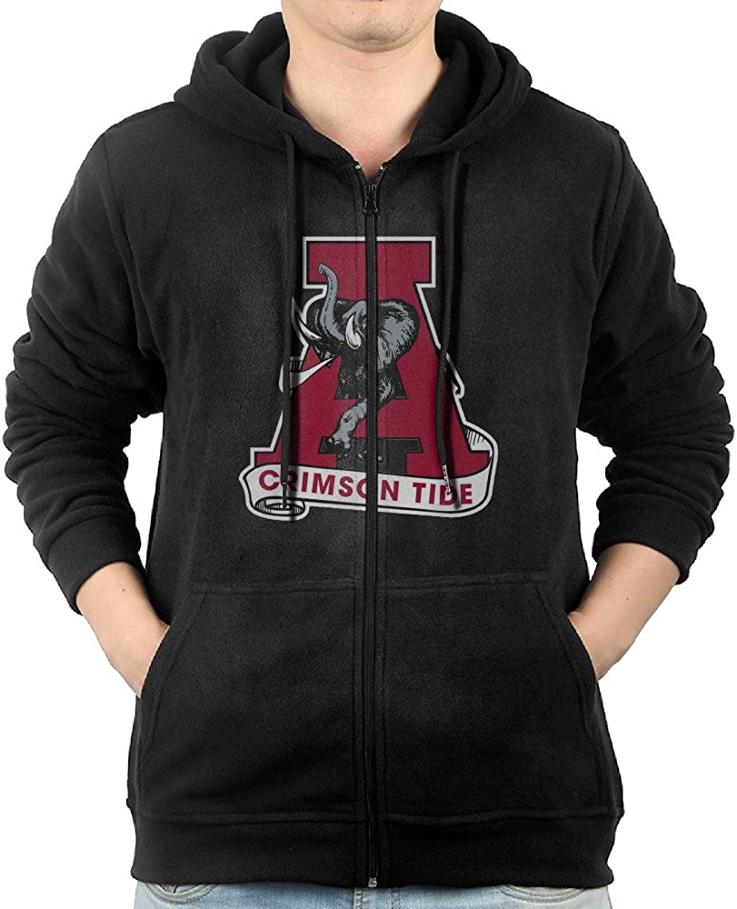 Men Hoodie Alabama Crimson Tide Football Logo Zip Sweatshirt