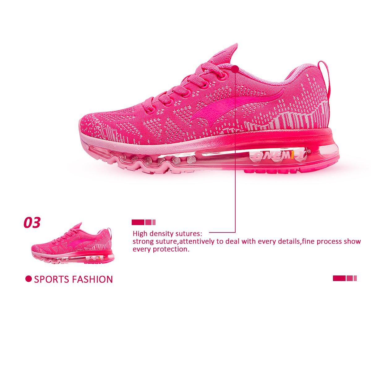 ONEMIX Women's Lightweight Air Cushion Outdoor Sport Running Shoes B071R9KCG5 Women 5.5(M)US/Kid 4(M)US 36EU|Rose Red