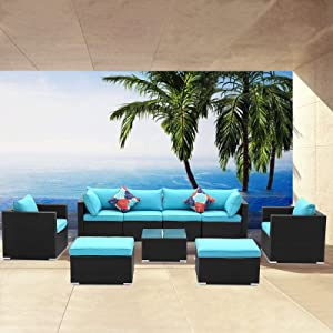Saemoza Patio Furniture Set, 9 Piece Outdoor Wicker Rattan Conversation Sofa Sets with Tempered Glass Tabletop,Black Wicker| Blue Cushions for OutdoorGarden