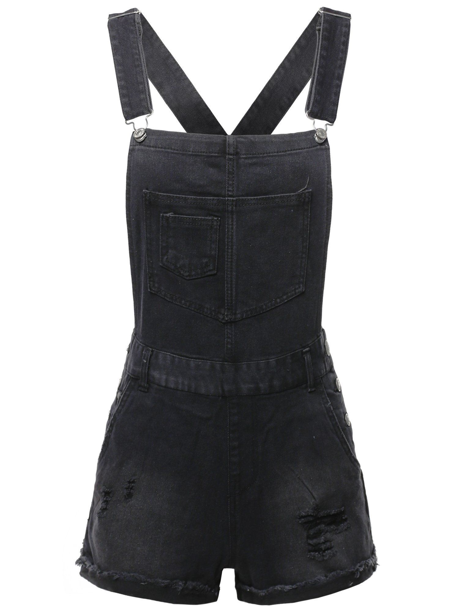 Made by Emma Casual Black Single Chest Pocket Adjustable Straps Cute Short Overalls M