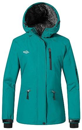 Wantdo Women s Mountain Ski Jacket Waterproof Rain Coat with Hood Windproof  Short Parka Winter Anorak Daily ee9e4ca84
