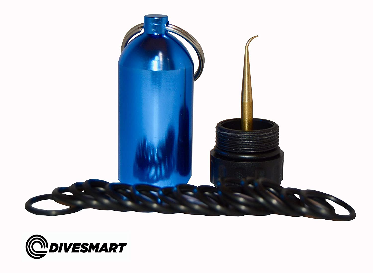 DiveSmart Scuba Diving Mini Tank Keychain with 15 O-Rings and Brass Pick