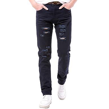 45110bbd5e5 Robelli Homme Designer Coupe Skinny Déchiré   Déchirée Jeans - Bleu marine