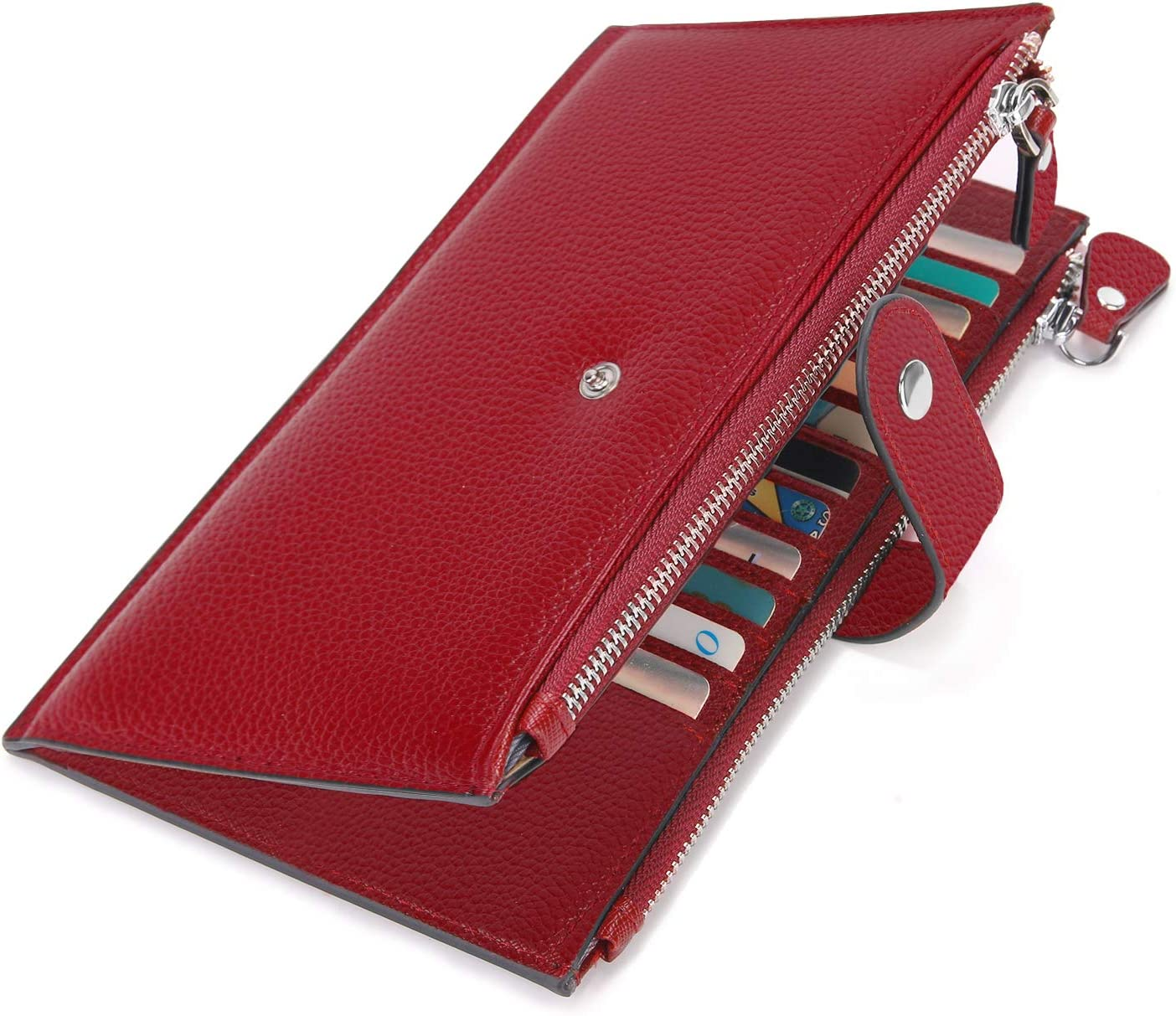 Luxury Soft leather Zip Around Credit Card Holder Concertina Fan Style Red