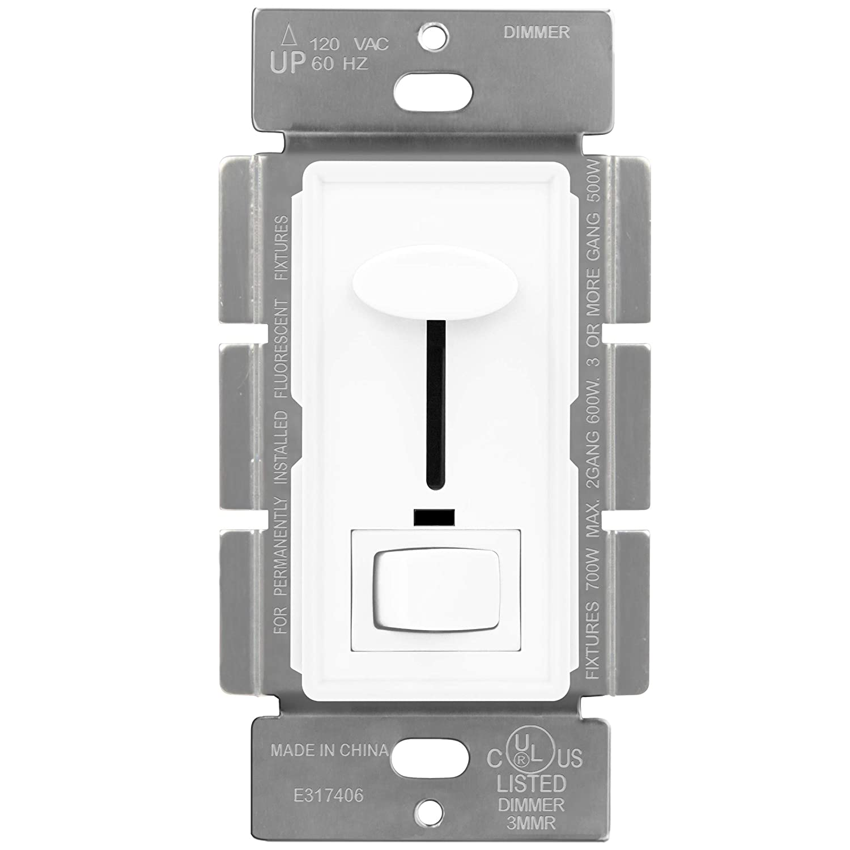 ENERLITES Decorator Slide Dimmer Switch Single-Pole or 3-Way 120V 700W 60Hz On//Off Rocker UL Listed 50321-W White LED Indicator Light ONLY for Incandescent and Halogen