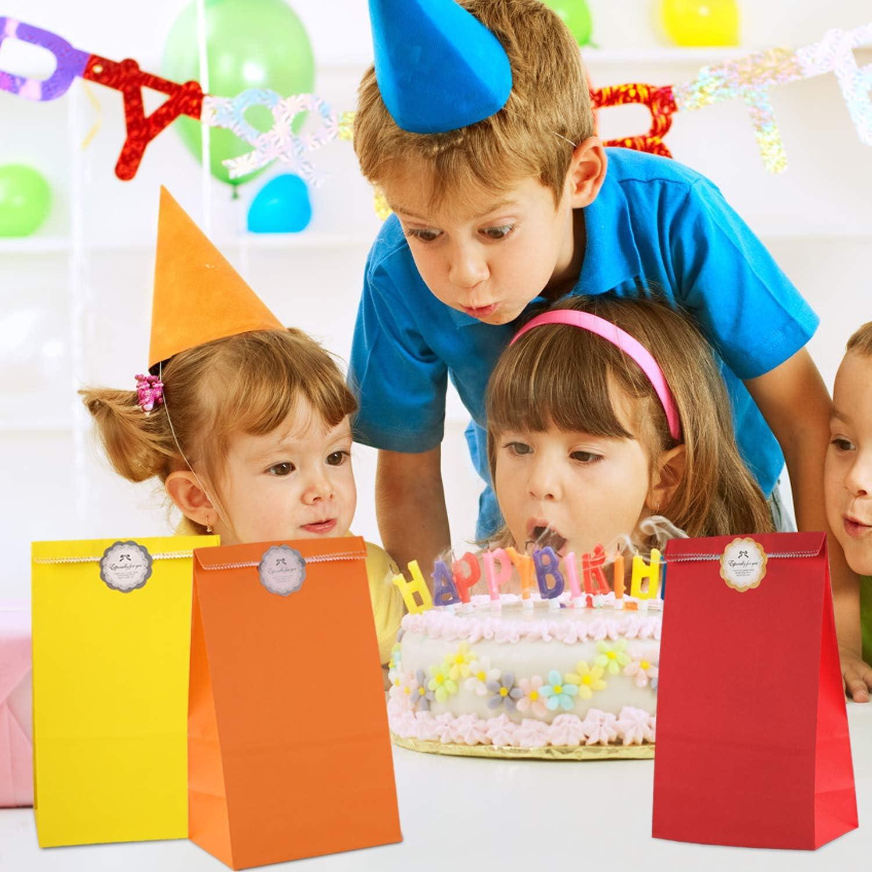 IZSUZEE Geschenkt/üten Ostern Papiert/üten,Adventskalender,Kinder Partyt/üten Geburtstag Candy T/üten Outfit,50 Bunte Papiert/üten mit Aufklebern,Hochzeit Geburtstag Party,Wellenpunkt MEHRWEG