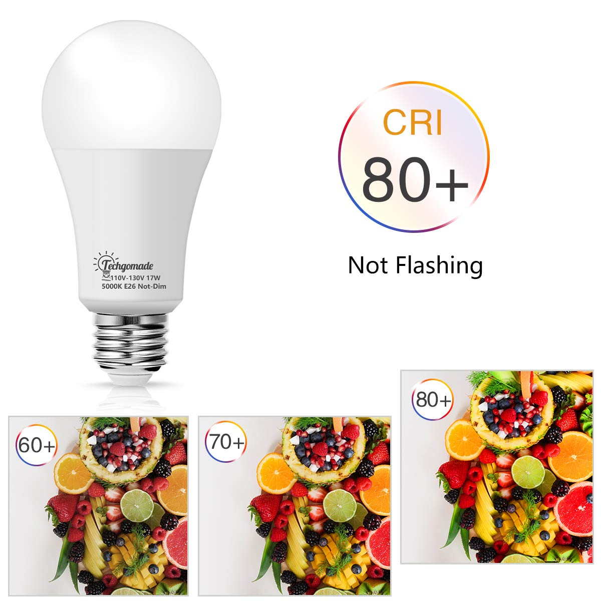 Porch Not-Dimmable LED 4 Pack for Home or Outdoor Lighting Techgomade 17W A19 LED Light Bulb 200W Incandescent Bulb Equivalent 1600LM High Brightness Hallway Daylight White 5000K
