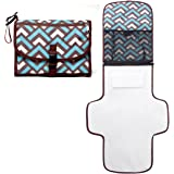 Portable Diaper Changing pad- Lightweight Travel Home Diaper Changing Station with Pocket and Wipes case -Waterproof&Foldable Changing mat with Head Cushion