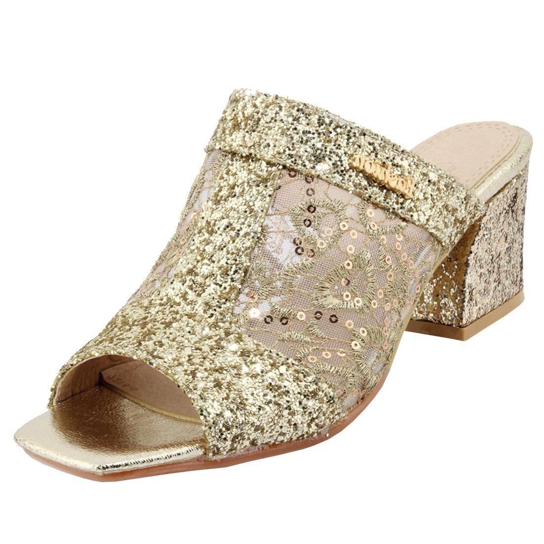 Artfaerie Damen Mittel Absatz Offen Slipper Mules mit Spitze und Blockabsatz Slingback Pantoletten Bequem Loafers Schuhe  36 EU|Gold