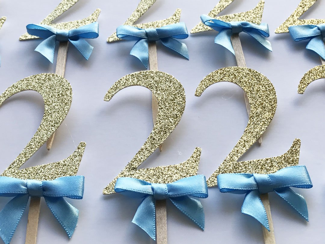 Amazon 2 Cupcake Toppers Blue Bow Gold Glitter Birthday Decorations Boy 2nd Party Decor Qty 12 Handmade