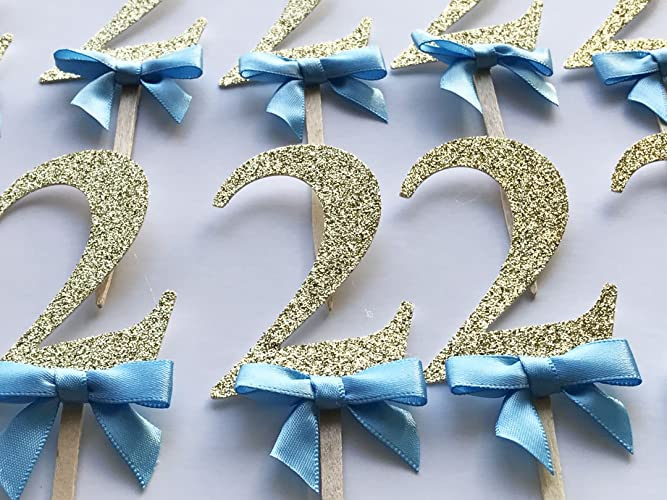 2 Cupcake Toppers Blue Bow Gold Glitter Birthday Decorations Boy 2nd Party Decor