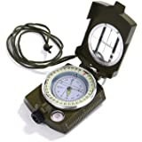 GWHOLE Compass Waterproof Hiking Military Navigation Compass with Pouch Lanyard, English User Guide Included [Lifetime Warranty]