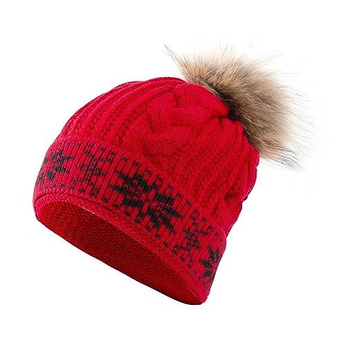 Yidarton Gorro De Lana De Invierno Pompon Knit Gorro Mapache Caliente Sombrero Para Mujer (rojo)