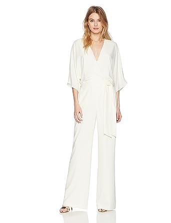 72f45e622e6 Halston Heritage Women s Wide Short Sleeve Wrap Front Jumpsuit with Waist  Tie Chalk 0