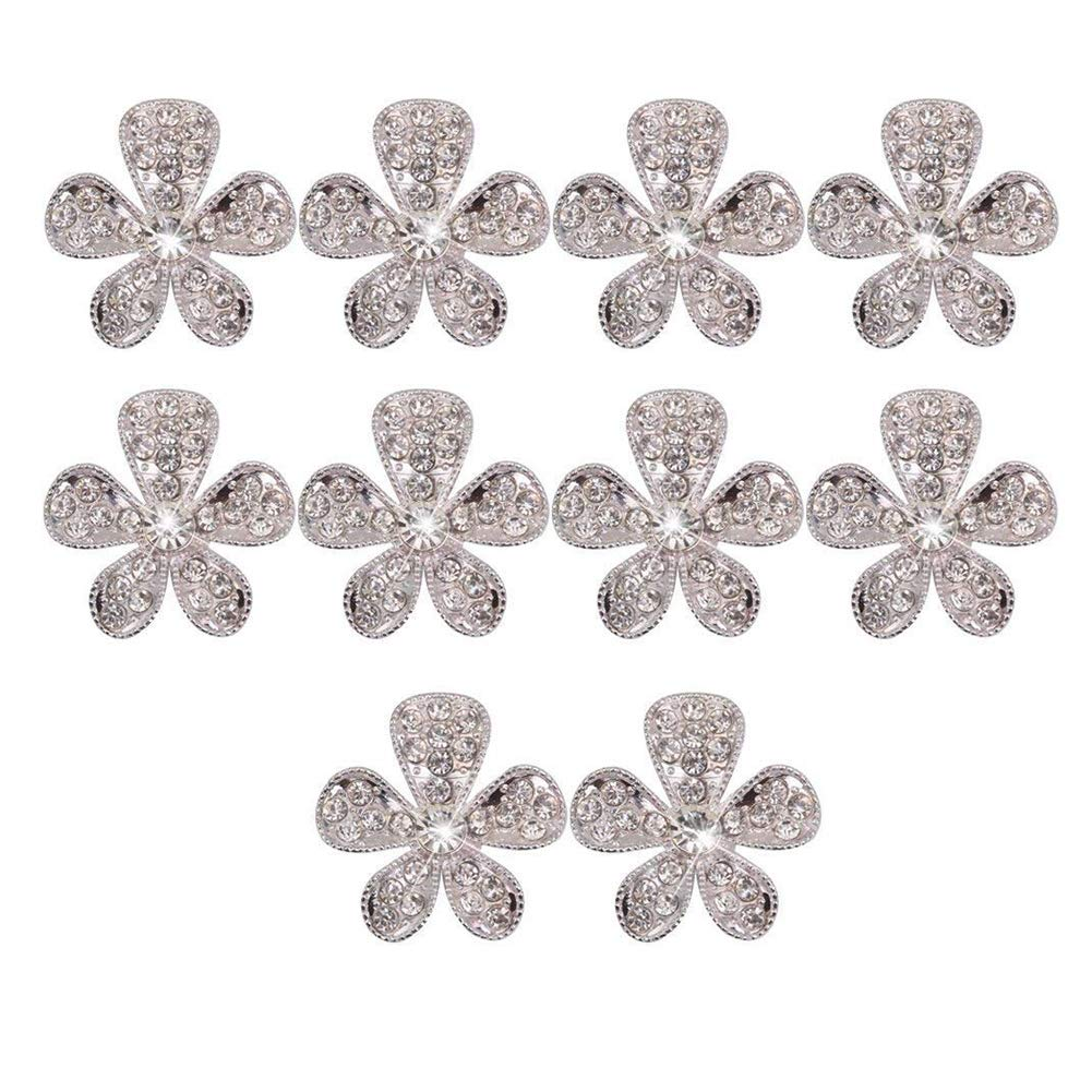 Ruiting 10 PCS Rhinestone Buttons Flower Sliver Tone Embellishments Clothing Decoration and DIY Crafts