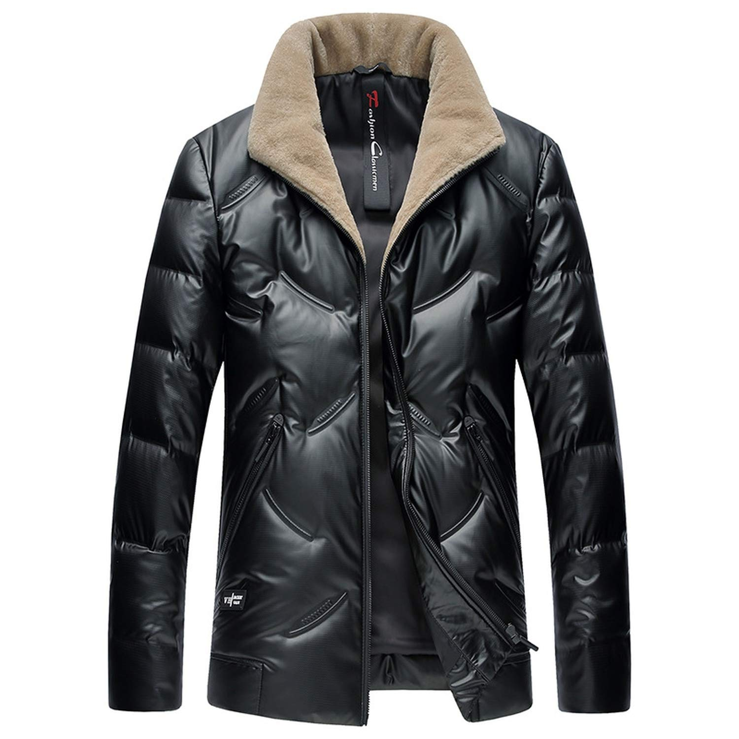 Black Warm Down Jacket Waterproof Winter 90% White Duck Down Outwear 100% Real Wool Collar Coat