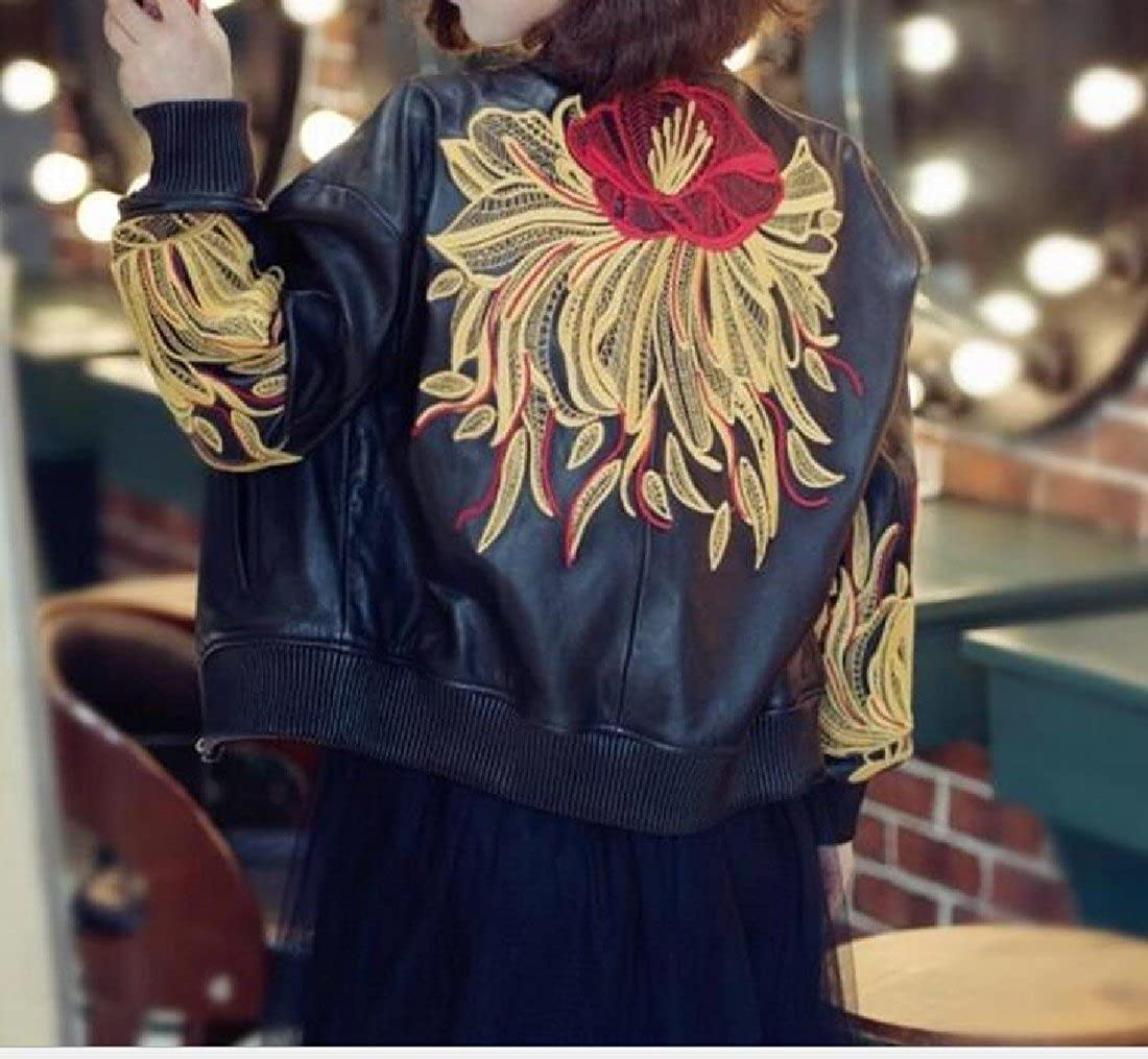 BabyYoung Womens Open Front Simple Coat Pu Leather Jacket