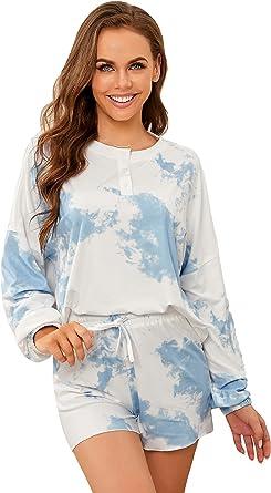Ever-Pretty Tie-Dye Conjunto de Pijama Mujer Camiseta y Pantalones Cortos Casuales Loungewear Verano 01174