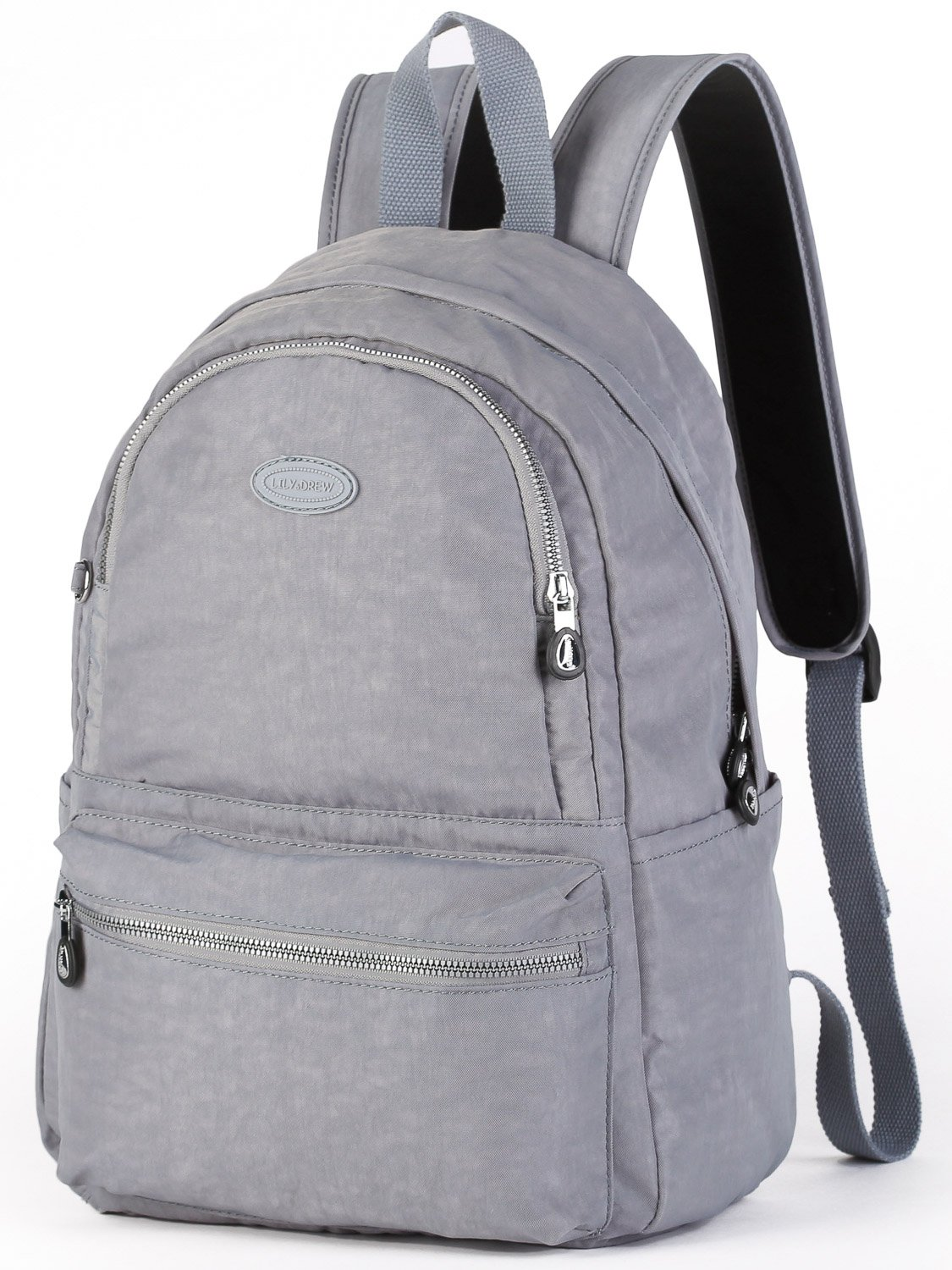 Lily & Drew Nylon Casual Travel Daypack Backpack with Trolley Strap (V2 Grey Medium) by Lily & Drew