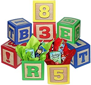 Party Drop Box Number and Letter Blocks Party Favor Boxes 8ct