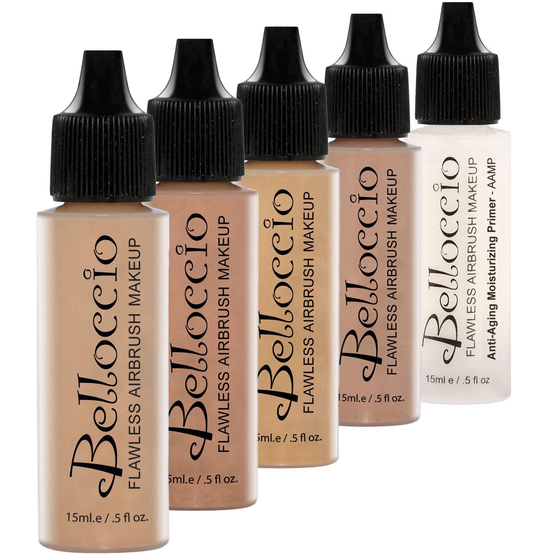 Belloccio Medium Color Shade Foundation Set - Professional Cosmetic Airbrush Makeup in 1/2 oz Bottles