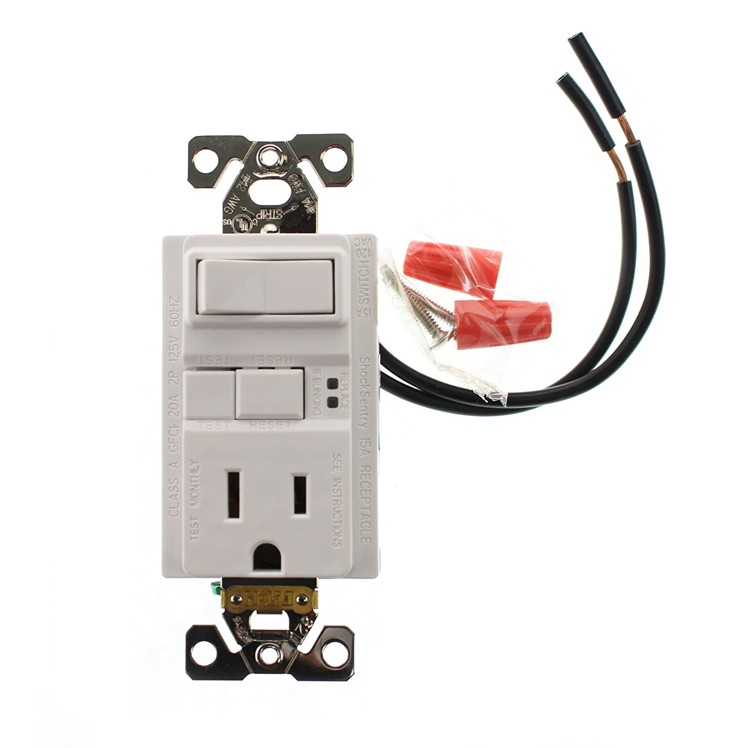 Hubbell Gfspst15wz Combo Gfci Outlet 1p Switch Self Test 15 Amp Ivory Electrical Outlets Light Switches 15a Gfi 120 Volt White