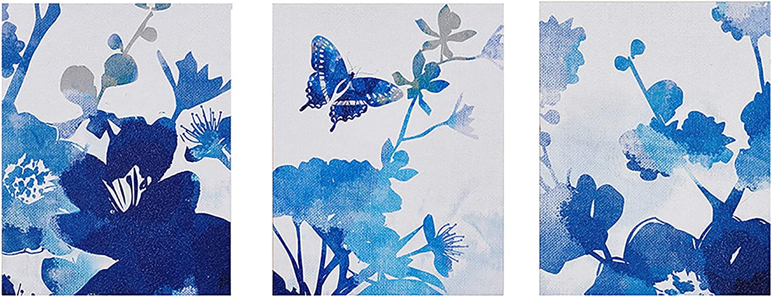 Madison Park, Cobalt Garden 3 Piece Set Wall Art, Gel Coated Canvas, Modern Floral Garden, Butterfly Painting, Global Inspired Painting Living Room Accent Décor, Blue Multi, 11 x 14