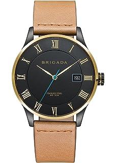 Cool Black Nice Fashion Minimalist Mens Dress Watch, BRIGADA Swiss Brand Business Casual Quartz Wrist
