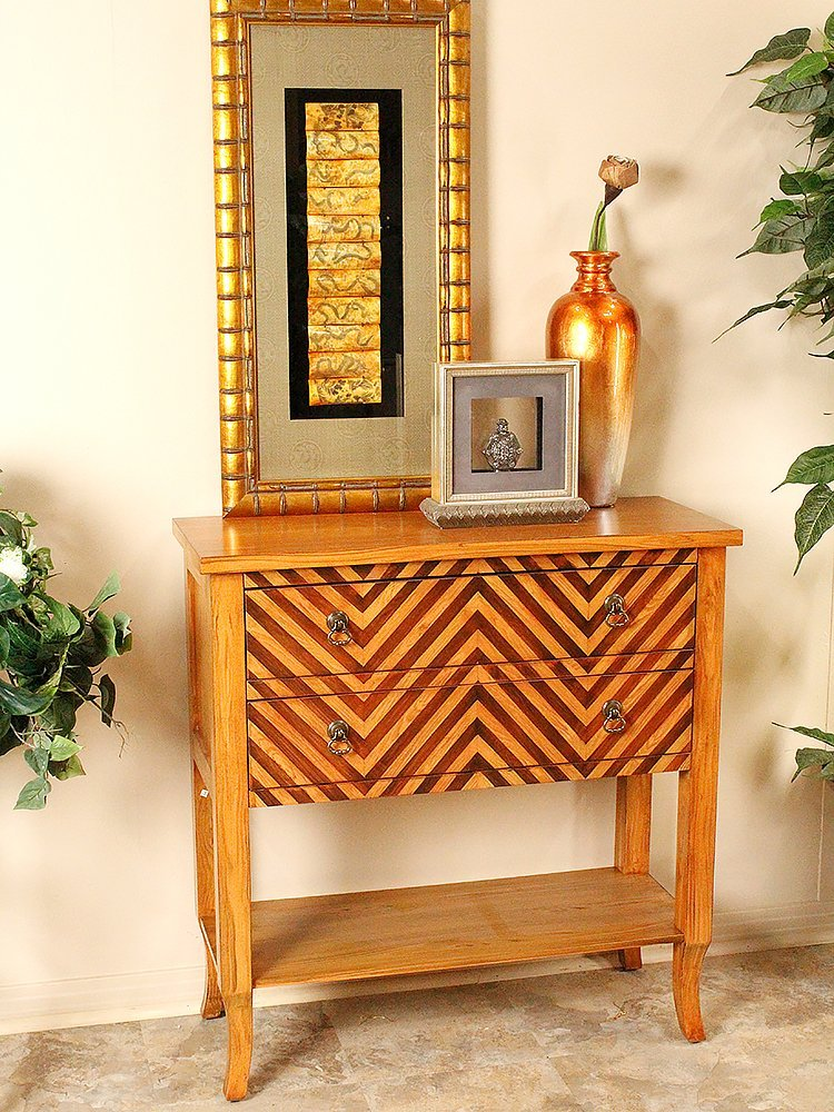 Heather Ann Creations Heirloom Collection Handcrafted 2 Drawer Chevron Accent Console with Shelf, 33'' x 13'' x 32'', Woodtone by Heather Ann Creations (Image #2)