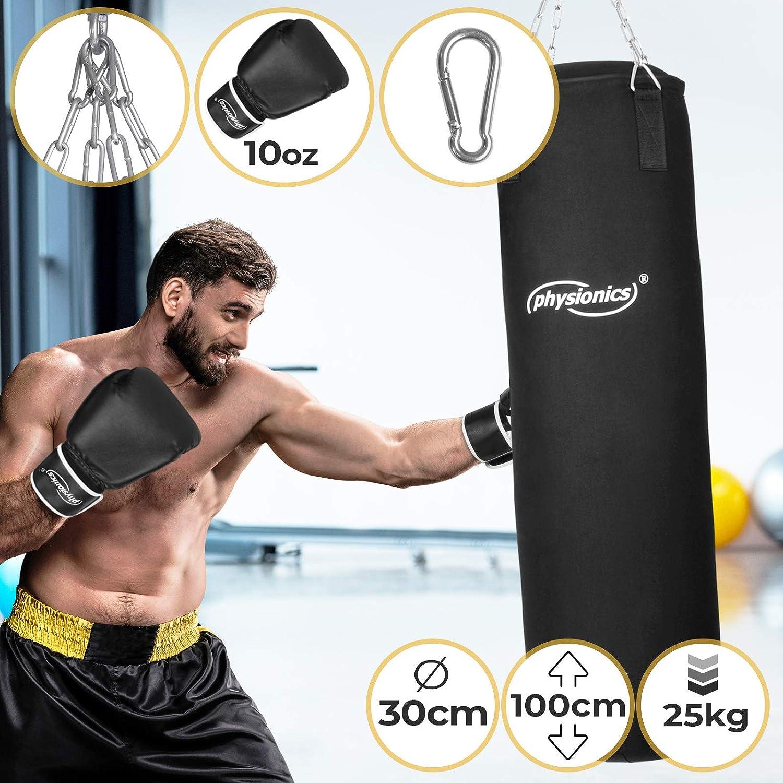 Physionics Boxsack Set inkl Boxsack gef/üllt 25 kg mit Stahlketten und Karabinerhaken Kickboxen MMA 100//30 cm 10, 12, 16 Oz Boxhandschuhe Gro/ßenwahl Muay Thai Punching Bag Kampfsport