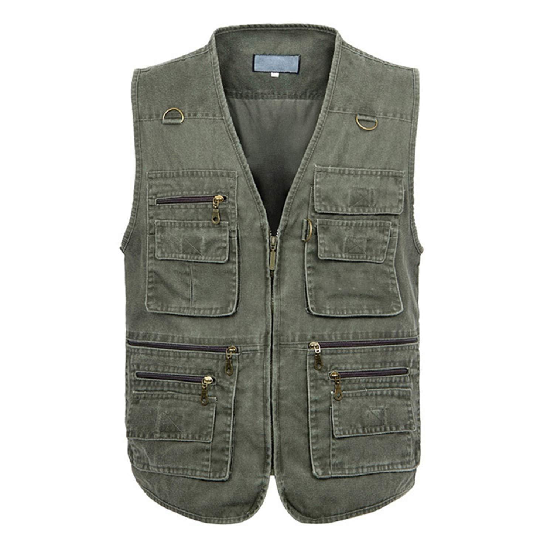 Male Casual Summer Big Size Cotton Sleeveless Vest with Many 16 Pockets Men Multi Pocket Photograph Waistcoat