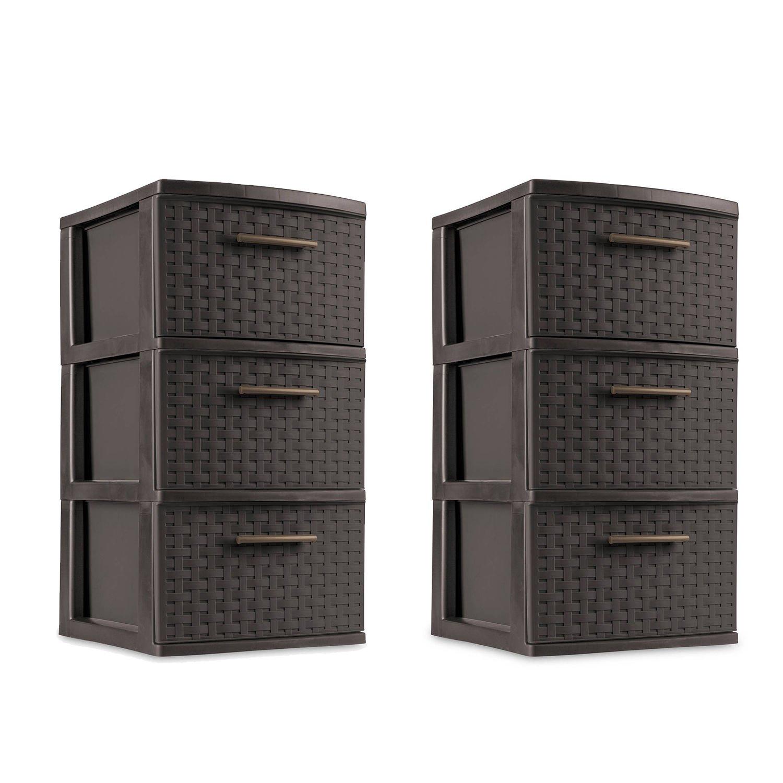 3 Drawer Storage Weave Cart Set of 2 Espresso Plastic Storage Box Organizer NEW Sterilite