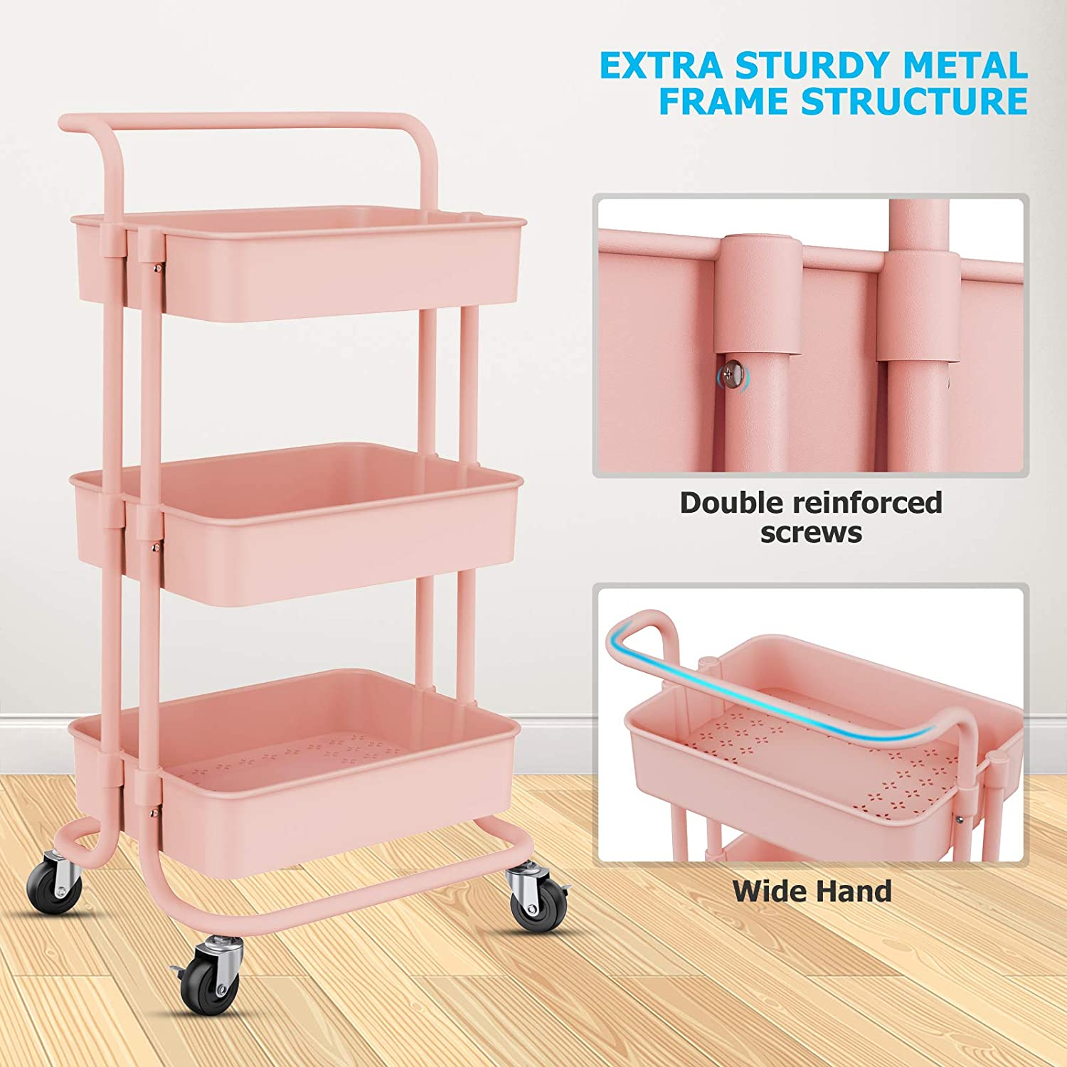 Rolling Storage Cart with Handles and Roller Wheels 3 Tier Craft Cart for Kitchen, Storage, Bathroom (Pink)