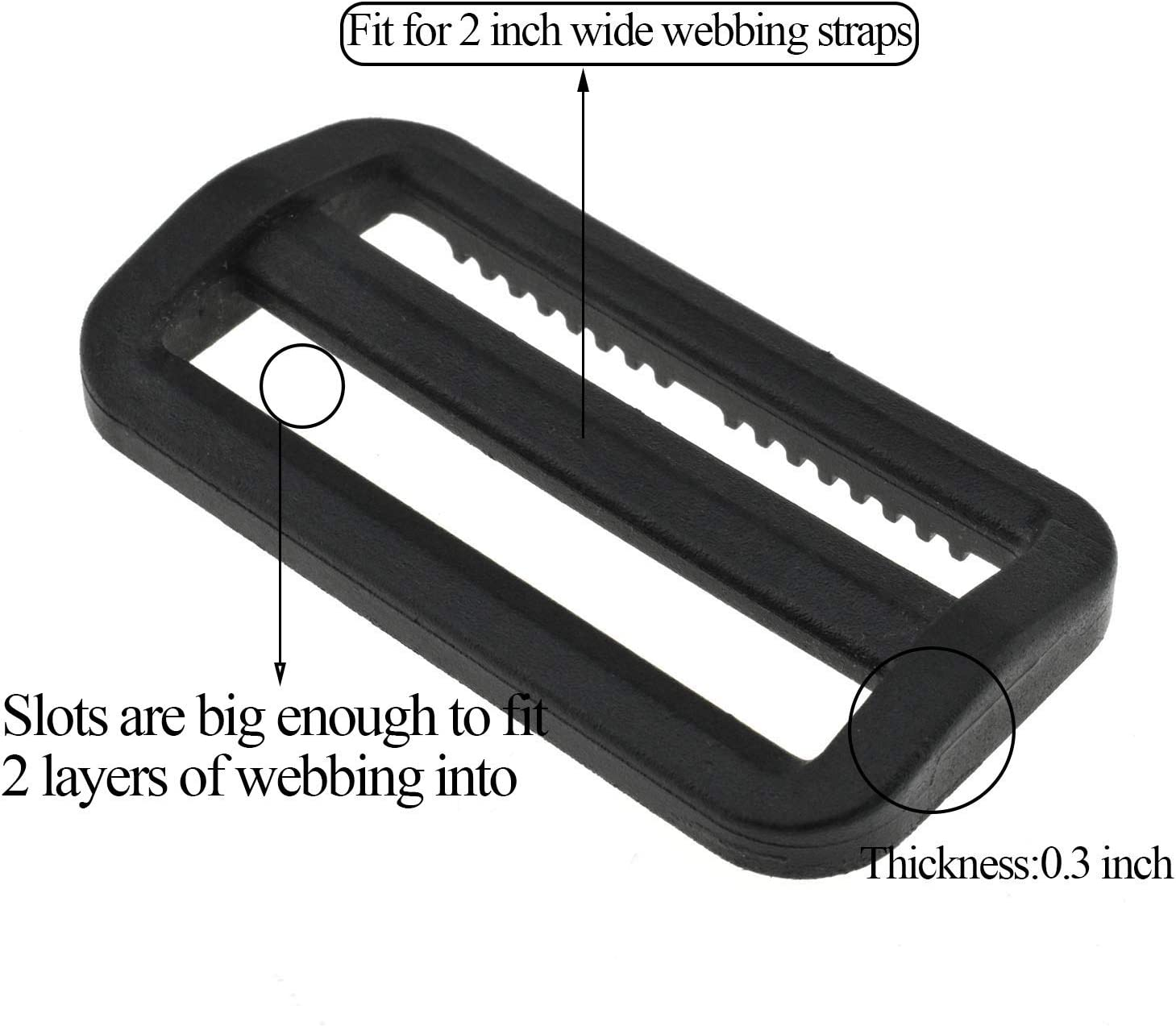 Hao Pro 2 Inch Tri Glides Slides Clips Buckles Gripping Knurled Edge No Slipping Solid 8 Pack for Collars Aprons Sling Bag Adjustable Straps Belt Big Slots No Sharp Edges No Sewing