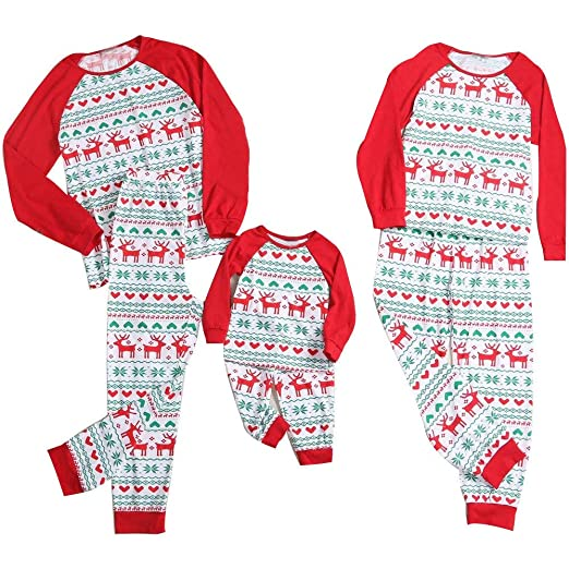 985325b06c Amazon.com  Christmas Holiday Family Matching Sleepwear Pajamas Set Parent-Child  Xmas Homewear  Clothing