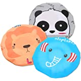 Fast and Good Cute Cartoon Waterproof Elastic Shower Cap Bath Cap for Women and Girls and Kids,Pack of 3 (Panda+Elephant…