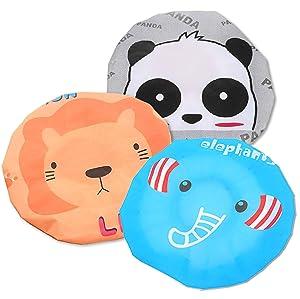 IXIAOPET Cute Cartoon Waterproof Elastic Shower Cap Bath Cap for Women and Girls and Kids,Pack of 3 Pcs(Panda Elephant Lion)