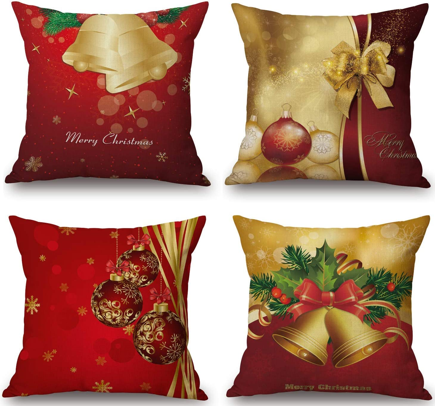 BLUETTEK Merry Christmas Series Cotton Linen Decorative Throw Pillow Covers 18 Inch by 18 Inch (Xmas Bells & Bow)