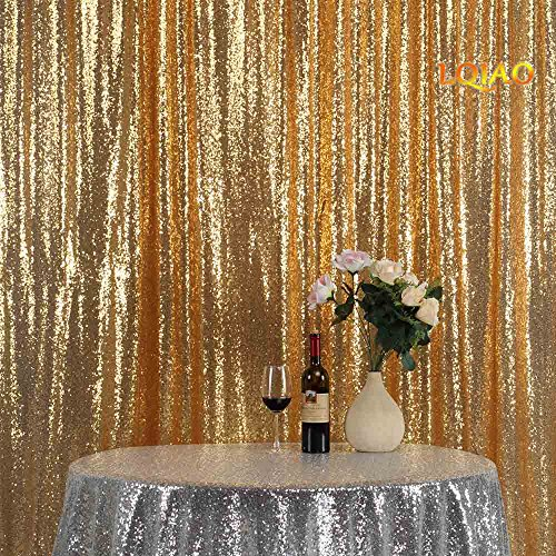 LQIAO Glitz 10x10ft Gold Shimmer Sequin Fabric Photography Backdrop, Gold Sequin Photo Booth Background Curtain Panel for Party Decoration, Pocket 10x10FT(300x310cm)