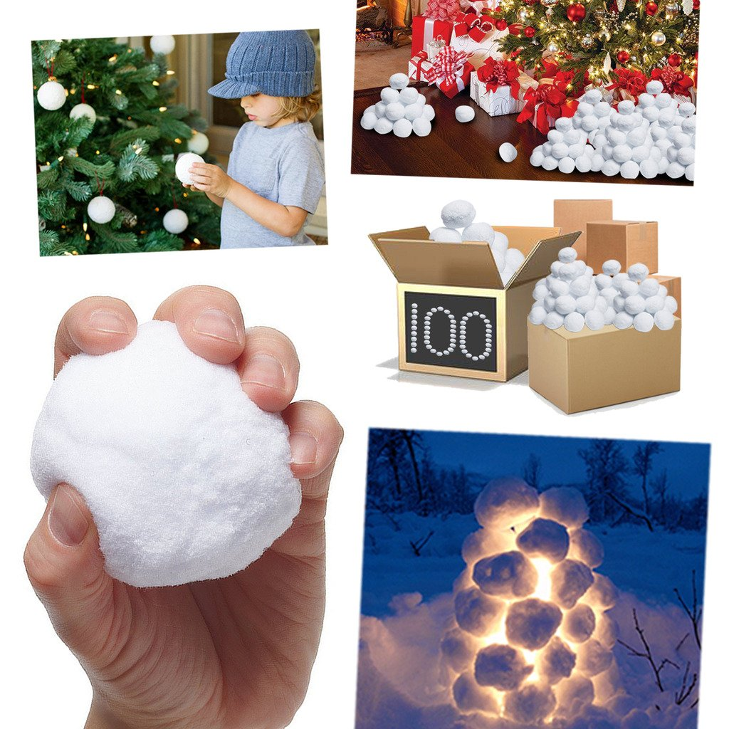 Christmas Fake Snowballs Tree Decorations White Soft Xmas Displays Home Indoor (10) Guaranteed4less 551015