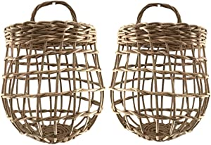 HyakuOku Onion Basket Handwoven Rattan - Chic Decor Hanging Wall Garlic Container - Vintage Boho Storage for The Kitchen or Home - Bohemian Baskets with Handle - Pack of 2 Small Garlic Holder