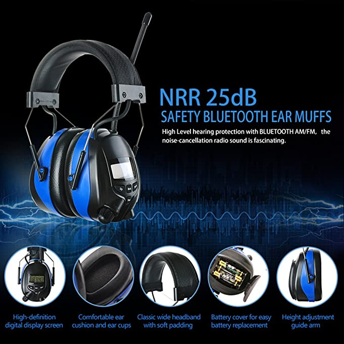 Protear hearing protector with bluetooth and mp3amfm digital protear hearing protector with bluetooth and mp3amfm digital radio with a earmuff clip electronic noise reduction safety ear muffs stopboris Gallery
