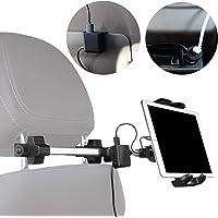 Macally Soporte para reposacabezas de coche con cargador USB y adaptador de alimentación para encendedor de cigarrillos para asiento delantero y trasero | Ajuste universal para todos los iPad, tabletas, Nintendo Switch, iPhone, Samsung, etc.