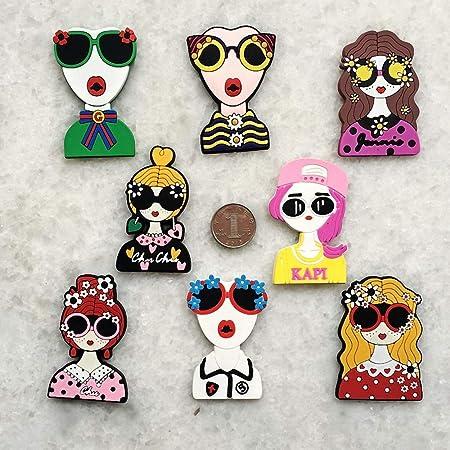 Cartoon personalidad moda chica de goma imanes de nevera Cool ...