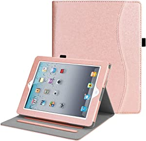Fintie Case for iPad 2 3 4 (Old Model) 9.7 inch Tablet - [Corner Protection] Multi-Angle Viewing Smart Cover with Pocket, Auto Sleep/Wake for iPad 2/3 & iPad 4th Gen Retina Display, Glitter Pink