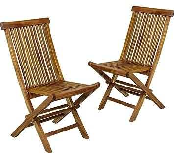 Wood-en-Stock Juego de 2 sillas de jardín (Teca barnizada ...